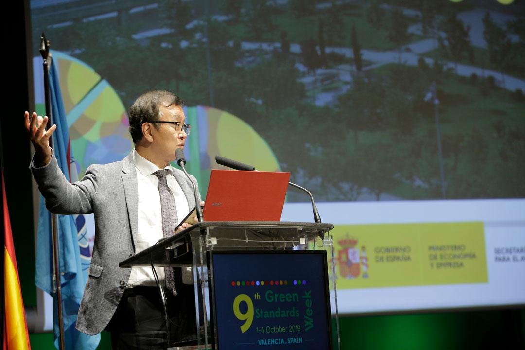 Chaesub Lee de la ITU, a la Cerimonia de entrega dels premis U4SSC