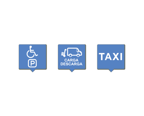 Efficient management of limited mobility parking, load/unload parking for carriers and taxi street parking